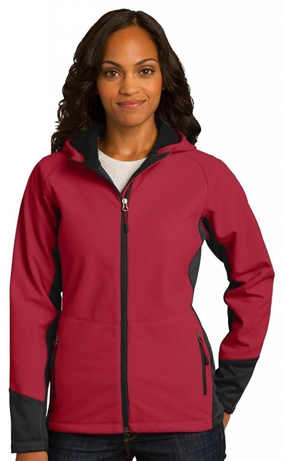 Port Authority Ladies Hooded Soft Shell Jacket> Rich Red/Black L319