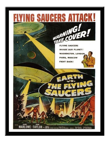 Iposters Earth Vs Flying Saucers Sci Fi Movie Print 1956 Magnetic Memo Board Black Framed - 41 X 31 Cms (approx 16 X 12 Inches)