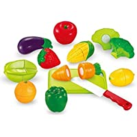 Hobnot Realistic Sliceable 12 Pcs Fruits and Vegetables Cutting Play Toy Set