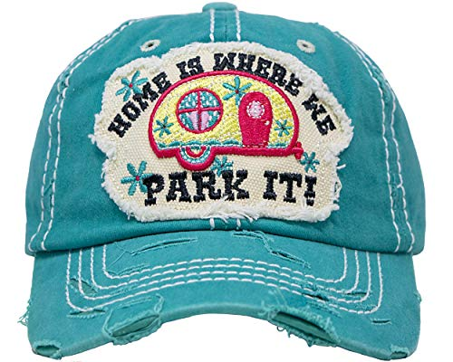 BH-203-HIWWPI46 Distressed Patch Baseball Cap - Home is Where WE Park IT - Teal