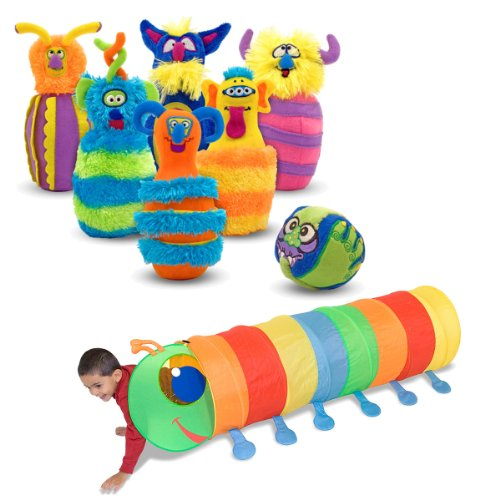 Melissa & Doug Monster Plush Bowling Game with Happy Giddy Crawl Tunnel (Doug Monster Bowling Set)
