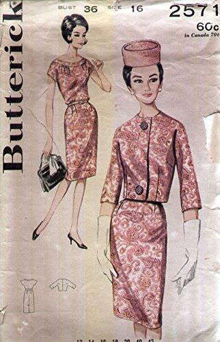 Butterick 2571 Vintage 1960s Mad Men Sheath Dress and Boxy Jacket Sewing Pattern B36