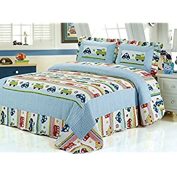 Amazon.com: HNNSI 3PCS Car and Truck Pattern Kids Quilt Comforter ... : quilt comforter sets queen - Adamdwight.com