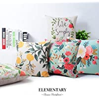 Elementary Cotton Floral Design Decorative Throw Pillow Covers/Cushion Covers Set of 5