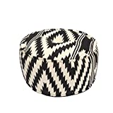 24'' Black and Tan Geo Tribal Pattern Round Ottoman Pouf