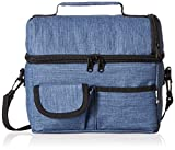 PuTwo Lunch Bag Insulated Large Capacity with YKK Zip Adjustable Shoulder Strap Lunch Bag - Denim Blue