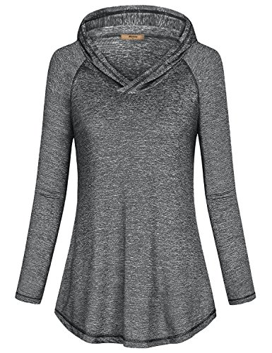 Miusey Yoga Hoodie for Women, Ladies Long Sleeve Crew Neck Pullover Fleece Tops Athleisure Hoodys T Shirt Hip Loosely Sweatshirt Space Dye Black L