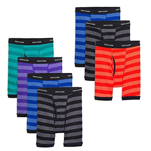- Fruit of the Loom Boys Cotton Boxer Brief Underwear (Large (Waist (27-29)), Stripes - Assorted (Pack of 7))