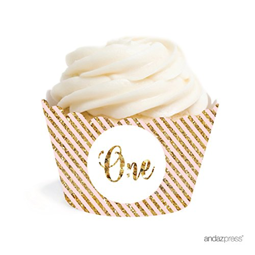 Andaz Press Blush Pink Gold Glitter Girl's 1st Birthday Party Collection, Cupcake Wrappers, 20-Pack -