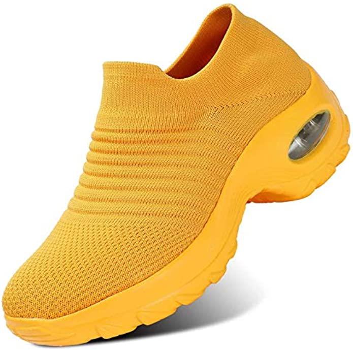 Womens Walking Shoes Sock Air Running Sneakers Wedge Platform Loafers Nurse Arch Support Ladies Clothes Shoes
