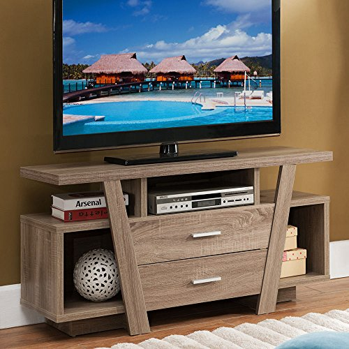 1PerfectChoice Furniture TV Stand Entertainment Center Console Table Unique Design Taupe Wood