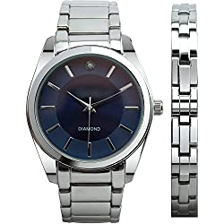 FMD Men's Silver-Tone Genuine Diamond Dial Watch with Gift Set and Matching Bracelet FMD