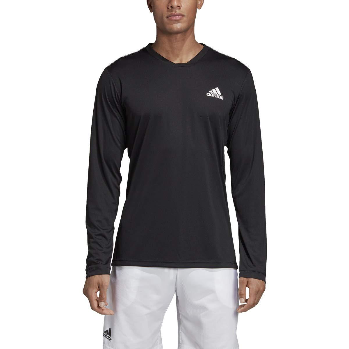 adidas Uv Protect Long-Sleeve Tennis Tee, Black/White, Small