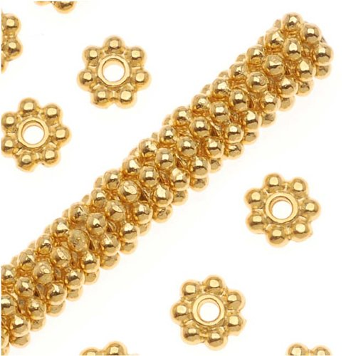 Fine Bright 22K Gold Plated Pewter Daisy Spacer Beads 4mm (Pewter Daisy Spacer Beads)