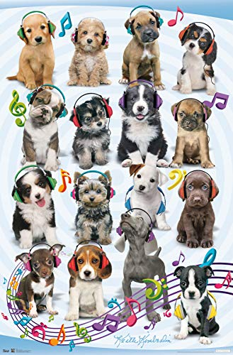 Trends International Puppy-Headphones Mount Bundle Wall Poster, 22.375