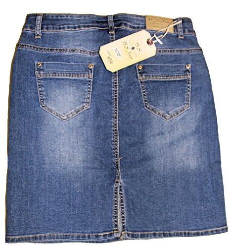 Jeans au 50 Bleu Courte 36 Jupe Extensible Femme Taille Poches Haute 5 FEq18cHn1
