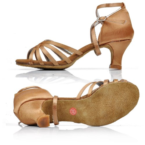 Dance Shoes Light Fashion Ballroom Buckle Women's Latin Strappy Beige Ankle Sandals LSERVER Dance Tango vRU7q