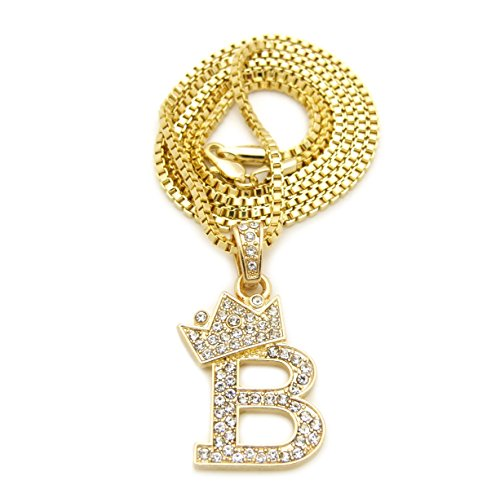 Fashion 21 Unisex Small Size Pave Crown Tilted Initial Alphabet Letter Pendant 2mm 24