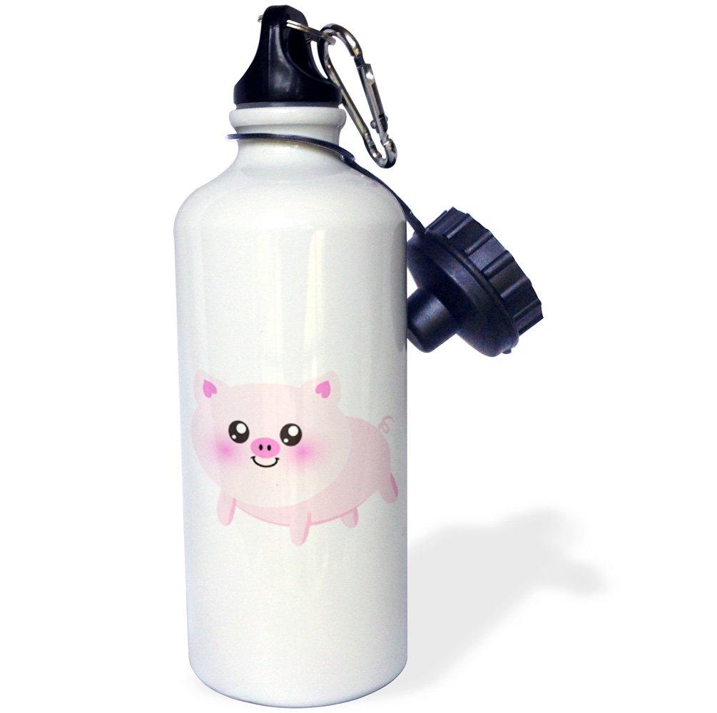3dRose wb_113124_1 Cute Happy Pig Cartoon-Pink Kawaii Farm Animal-Nursery Kids Child-Porker Pork Bacon Ham Sports Water Bottle, 21 oz, White