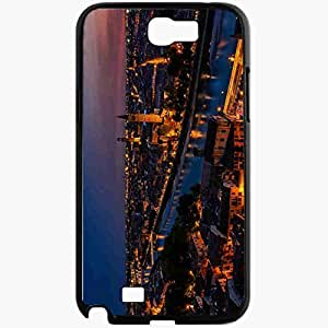 Unique Design Fashion Protective Back Cover For Samsung Galaxy Note 2 Case Italy Verona Sunset Twilight Lights Black