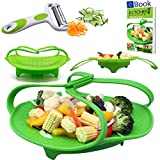 kitchen appliance bundles black friday PREMIUM Silicone Vegetable Steamer Basket - Green - 8
