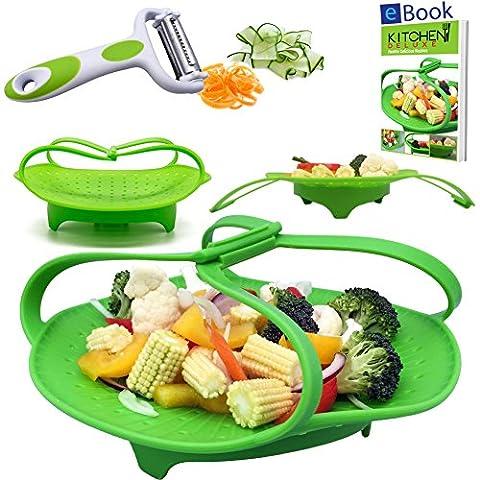 PREMIUM Silicone Vegetable Steamer Basket - Green - 8