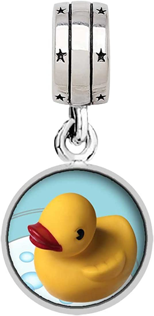 GiftJewelryShop Swimming Rubber Ducky Photo with God All Things are Possible Religious Dangle Charm Bracelets