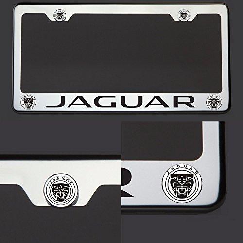 One Laser Engraved Black New Jaguar Mirror Stainless Steel License Plate Frame Holder Front Or Rear Bracket Steel Screw Cap (Jaguar V8 Xj)