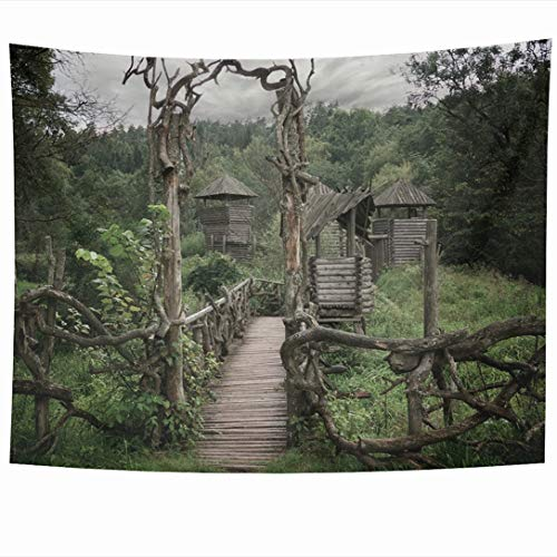 Ahawoso Tapestry 60x50 Inch Exterit Blue Castle Medieval Wooden Fortification Nature Old Hill Parks Green Pagan Forest Gate Sky Tapestries Wall Hanging Home Decor for Living Room Bedroom - Outdoor Hanging Gate Hill Black