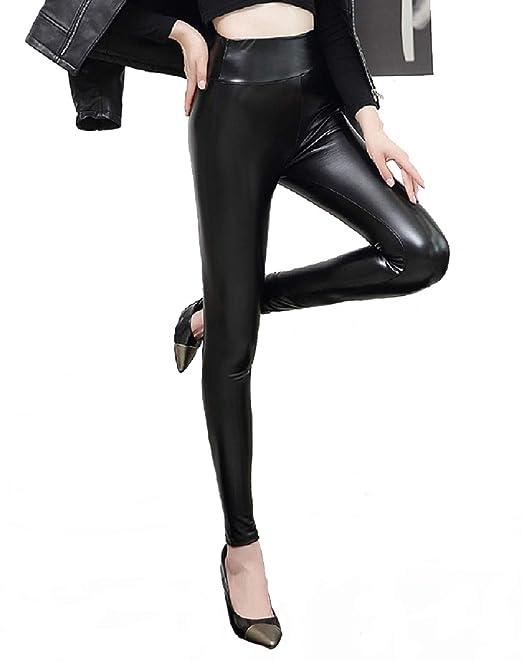 87b6f1dd499b heekpek Leggings invernali Pantaloni in pelle da donna neri Leggings in  similpelle PU Pantaloni collant a