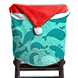 Whale Animal Christmas Chair Covers Unique DURABLE Santa Hat Chair Covers For Family Dinner Chair Covers Holiday Festive