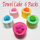 Pack of 6 Round Shape Cake Folded Towel Towel Personalized Wedding Gift Thank You Guest Favor Bridal Shower Baby Showers Birthday Party Flavor Goodie Bags, Perfect Gift.