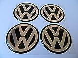 hubcaps vw - Hanway 4pcs Black vw Emblem Badge Sticker Wheel Hub Caps Centre Cover stickers for Volkswagen (90mm)