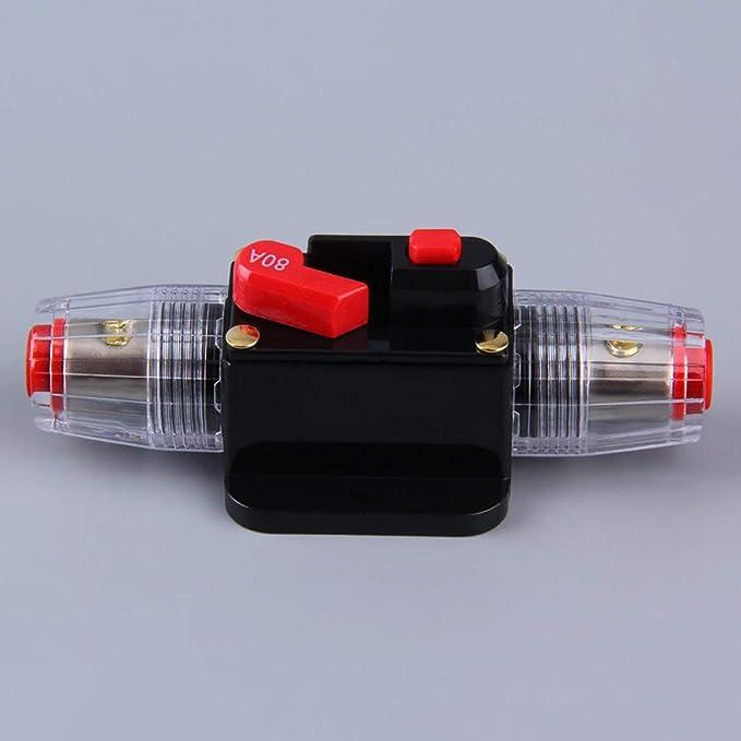 Negro 80A Kongqiabona Sistema de protecci/ón de audio profesional para autos Interruptor de restablecimiento manual Interruptor de restablecimiento manual de 100//80 amperios Portafusible Agu Instalaci/ón f/ácil