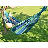 Inditradition Cotton Striped Foldable Hammock (For Single Person) / Hanging Bed For Camping & Outdoor Activities (197 CM x 80 CM) - Multicolor