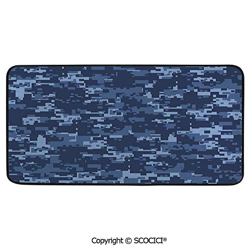 Soft Long Rug Rectangular Area mat for Bedroom Baby Room Decor Round Playhouse Carpet,Camo,Militaristic Effected Armed Forces Pattern Grunge Fashion in,39