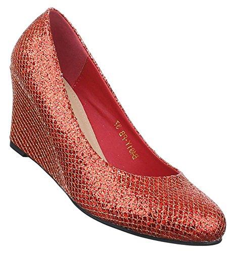 Damen Pumps Schuhe Keilabsatz Sandaletten Wedges Schwarz 36 37 38 39 40 41 Rot