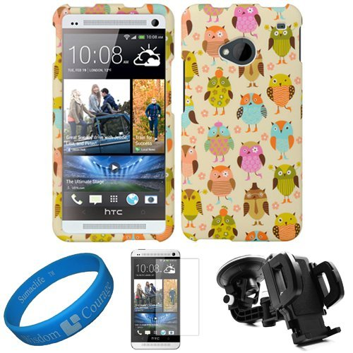 (Owl Design) Durable 2 Piece Snap-On Crystal Hard Case Faceplate Cover for HTC One M7 Android Smartphone + Clear Anti Glare Screen Protector Strip w/ Cleaning Cloth + Universal Windshield Mount Holder with Suction Cup Holder by DWLuxmo