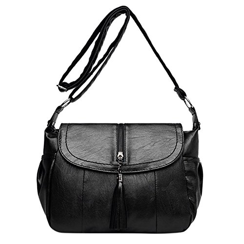 Bag Leather Casual Messenger PU Handbags Women Everpert Tassel Big Shoulder Capacity vqc7vAzS