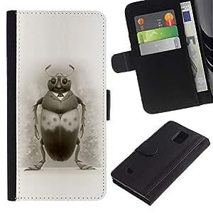 LASTONE PHONE CASE / Lujo Billetera de Cuero Caso del tirón Titular de la tarjeta Flip Carcasa Funda para Samsung Galaxy Note 4 SM-N910 / Bug Art Drawing Beetle Pencil Black White