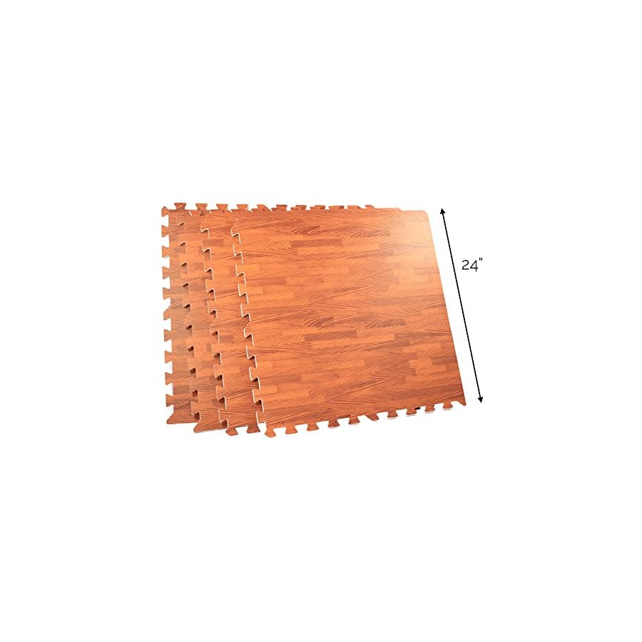 64 Square Foot EVA Foam Wood Grain Utility Floor Mat Cherry