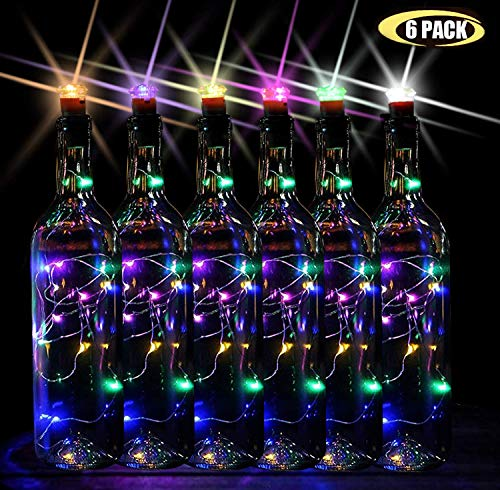 7 Color Flashing Wine Bottle Lights, Premium String Lights, 16 LEDs Battery Operated Cork Stopper Light Bottles DIY Mood Lights, 55 In.(Pack of 6)