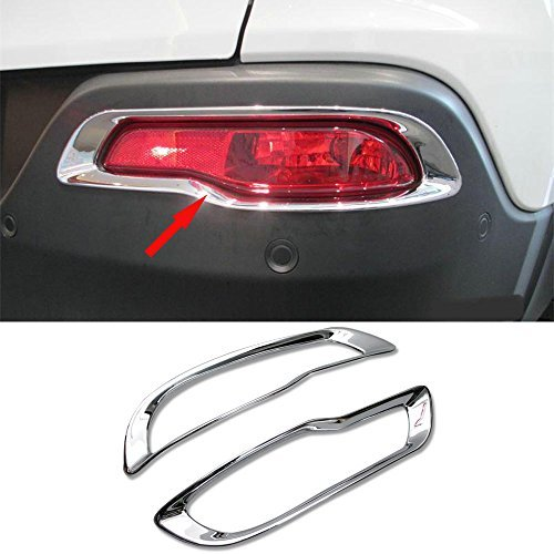 GOOACC ABS Chrome Rear Fog light lamp Cover Trim Fits Jeep Cherokee 2014 2015