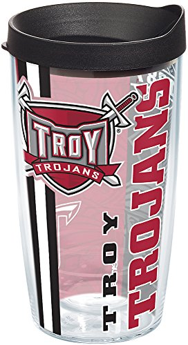 Tervis 1229747 Troy Trojans College Pride Tumbler with Wrap and Black Lid 16oz, Clear ()