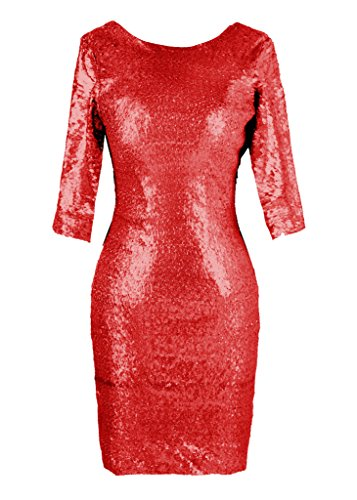 Dresstore Women's Scoop Column Prom Dress Sequined Bridesmaid Evening Gown Red US 16
