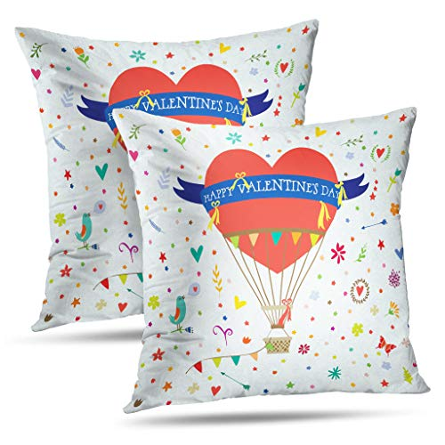 (Darkchocl Set of 2 Decoration Throw Pillow Covers Up Balloon House Pastel Square Pillowcase Cushion for Couch Sofa or Bed Modern Quality Design Cotton and Polyester 18