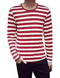 uxcell Men Long Sleeves Stripes Slim Fit Tee Shirt