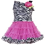 Size-6M RRE-46242S FUCHSIA-PINK BLACK WHITE Zebra Animal Print Asymmetric One-Shoulder Tutu Dress,S646242 Rare Editions Baby/NEWBORN