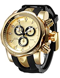 Mens Large Dial Big Heavy Silicone Wrist Watch Gold relojes de Hombre