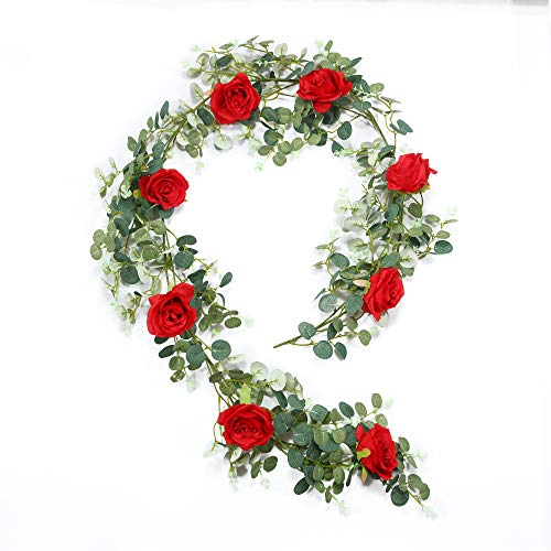 Roses Eucalyptus - DerBlue 6 feet/ 72.8 inch Artificial Eucalyptus Garland with Red Roses Flowers Greenery Garland Eucalyptus Leaves Wedding Backdrop Wall Decor (Eucalyptus Garland with Roses)